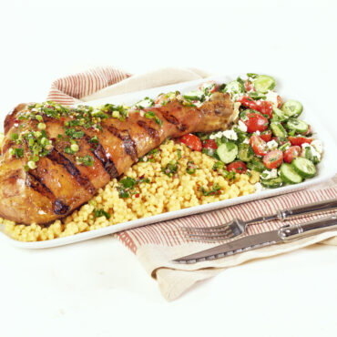 Grilled turkey leg with mango chutney and couscous
